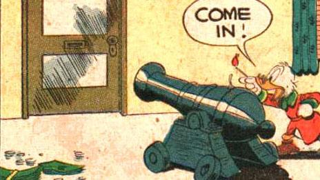 vignetta di Paperon de Paperoni con cannone